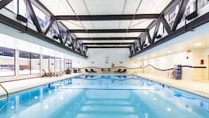 Indoor pool, open 5:30 AM to 11:00 PM, pool loungers