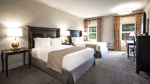 Hypo-allergenic bedding, down duvets, pillow-top beds, desk
