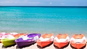 On the beach, scuba diving, windsurfing, beach volleyball