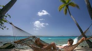 Beach nearby, sun loungers, beach umbrellas, beach towels