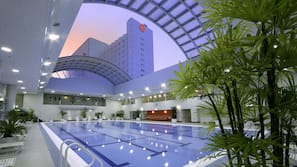 Indoor pool, open 8 AM to 9 PM, lifeguards on site