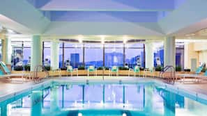 Indoor pool, open 5:30 AM to 11:30 PM, pool loungers