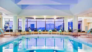 Indoor pool, open 6:00 AM to 9:30 PM, pool loungers