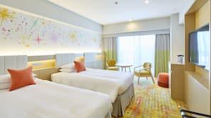 Hypo-allergenic bedding, down duvets, memory-foam beds, desk