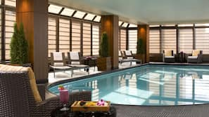 Indoor pool, open 5:30 AM to 9:30 PM, pool loungers