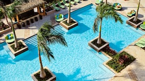 2 outdoor pools, open 7 AM to 7 PM, cabanas (surcharge), pool umbrellas