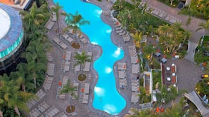 2 outdoor pools, open 6 AM to 10:00 PM, free pool cabanas