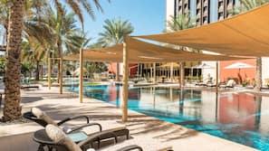Indoor pool, 2 outdoor pools, open 7:00 AM to 7:00 PM, pool umbrellas