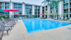 Seasonal outdoor pool, open 8 AM to 10 PM, sun loungers