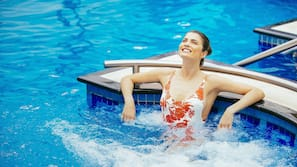 Indoor pool, open 6 AM to 8 PM, sun loungers
