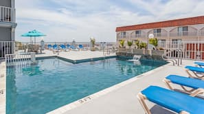 2 outdoor pools, open 10:00 AM to 8:00 PM, pool umbrellas, sun loungers