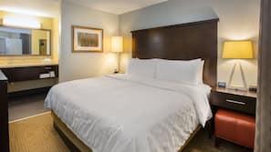 1 bedroom, pillow top beds, in-room safe, desk