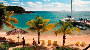On the beach, beach towels, scuba diving, snorkeling