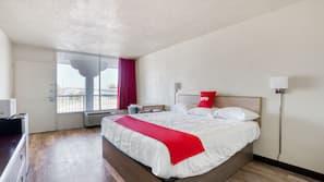 1 bedroom, desk, iron/ironing board, alarm clocks