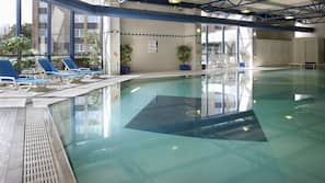 Indoor pool, open 7:00 AM to 9:00 PM, pool loungers