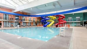 Indoor pool, open 4:00 PM to 7:00 PM, lifeguards on site