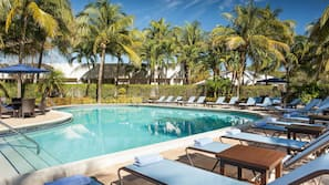 Outdoor pool, open 7 AM to 11 PM, pool umbrellas, sun loungers