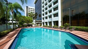 Outdoor pool, open 6:30 AM to 7:00 PM, pool umbrellas, sun loungers
