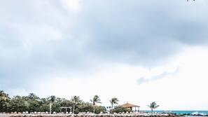 Private beach, white sand, beach cabanas, sun loungers