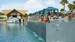 5 outdoor pools, open 9:00 AM to 9:00 PM, cabanas (surcharge)