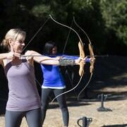 Prática de arco e flecha