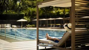 Outdoor pool, open 7:00 AM to 9:00 PM, free cabanas, pool umbrellas
