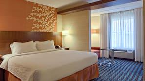 Hypo-allergenic bedding, desk, blackout drapes, iron/ironing board