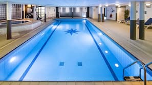 Indoor pool, open 8:00 AM to 8:00 PM, lifeguards on site