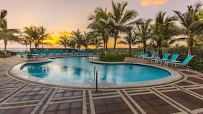 Outdoor pool, open 6:30 AM to 9 PM, sun loungers