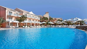 3 outdoor pools, open 7:00 AM to 5:00 PM, pool umbrellas, sun loungers