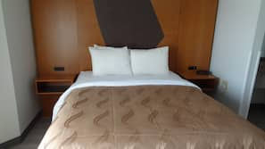 Premium bedding, desk, blackout drapes, iron/ironing board
