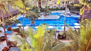3 outdoor pools, open 9:00 AM to 8:00 PM, pool umbrellas, sun loungers