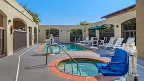 Seasonal outdoor pool, open 6 AM to 10:30 PM, pool umbrellas