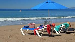 On the beach, beach umbrellas