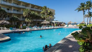 Seasonal outdoor pool, open 9 AM to 7:00 PM, free pool cabanas