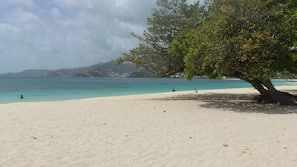 On the beach, snorkeling