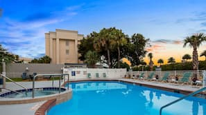 Outdoor pool, open 9 AM to 10:00 PM, sun loungers