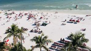 On the beach, white sand, 3 beach bars