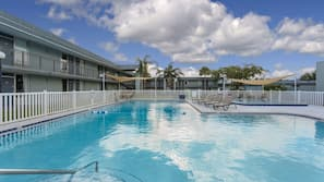 2 outdoor pools, open 9 AM to 10 PM, pool umbrellas, sun loungers