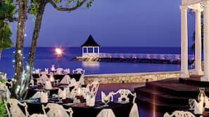 Private beach, white sand, free beach shuttle, sun loungers