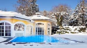 Indoor pool, outdoor pool, open 7:30 AM to 8 PM, pool umbrellas