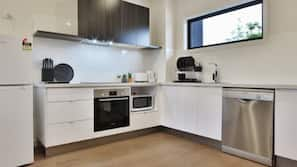 Mini-fridge, microwave, coffee/tea maker, electric kettle