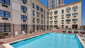 Seasonal outdoor pool, open 9 AM to 7:00 PM, pool umbrellas