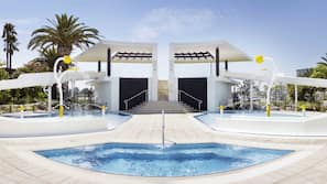 Indoor pool, outdoor pool, cabanas (surcharge), sun loungers