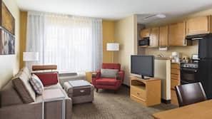 Premium bedding, down duvet, desk, laptop workspace