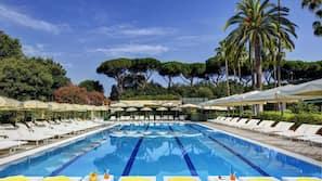 Indoor pool, outdoor pool, open 9:00 AM to 7:00 PM, pool umbrellas