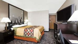 Premium bedding, desk, laptop workspace, rollaway beds