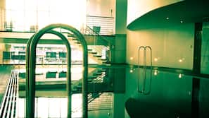 Indoor pool, open 6:00 AM to 10:30 PM, sun loungers