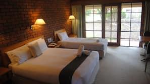 Iron/ironing board, free WiFi, alarm clocks, wheelchair access