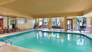 Indoor pool, open 8:00 AM to 10:00 PM, sun loungers